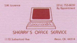 Sherry's Original 1992 Business Card